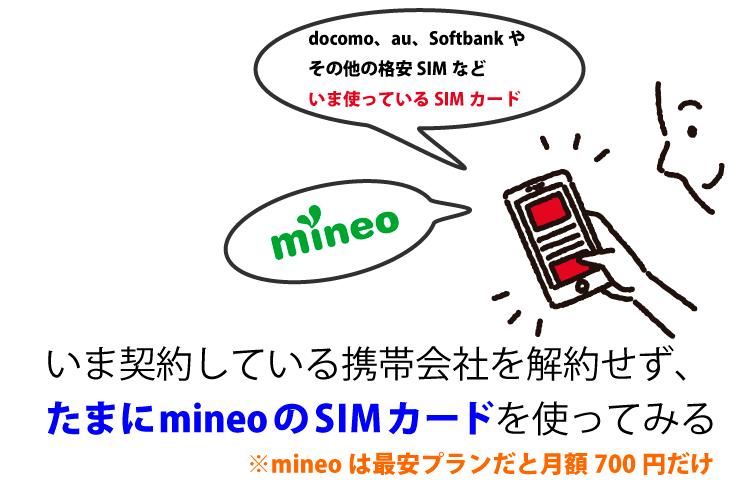 マイネオ(mineo)をお試しで使ってみるSIMカード2枚の状態