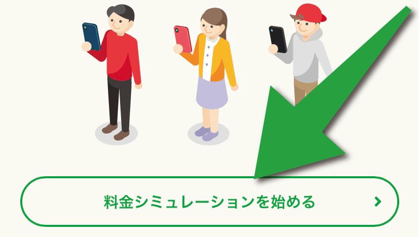 mineo(マイネオ)の料金シミュレーションを利用するために「料金シミュレーションを始める」を選択。
