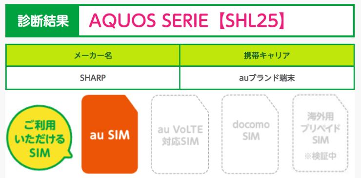 AQUOS SERIE SHL25はマイネオ(mineo)で使える。端末チェッカーで確認。