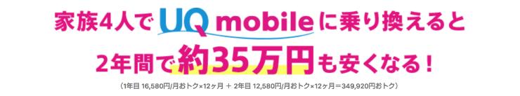 UQモバイル(ユーキューモバイル)は家族割で年間35万円引きになる