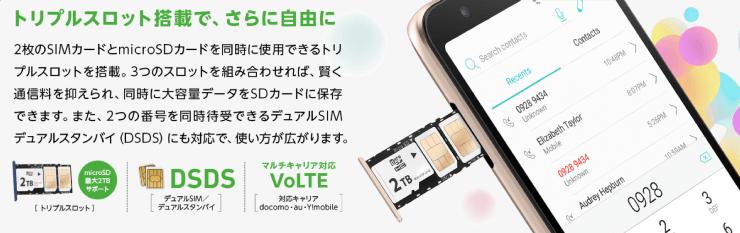 ZenFone Live (L1)のトリプルスロットルをマイネオ(mineo)で端末セット