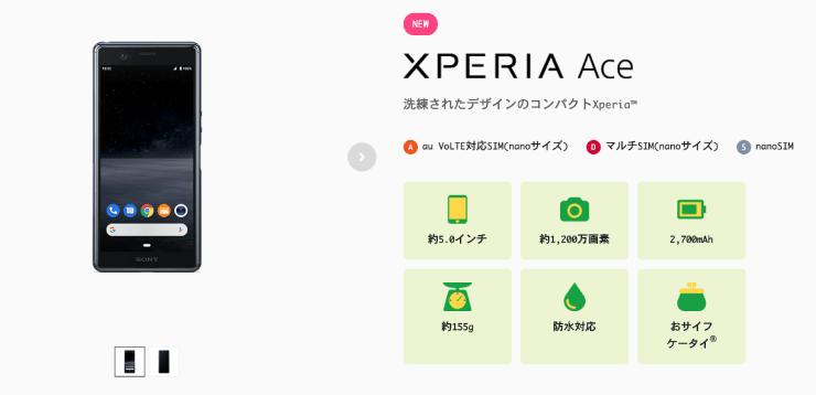 mineo(マイネオ)のXperia Ace(エクスペリアエース)のトップ画像